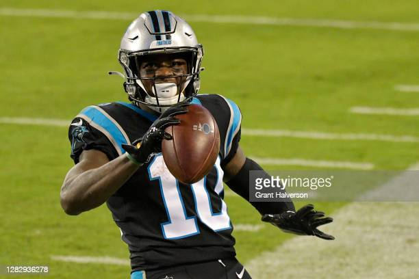 Curtis Samuel of the Carolina Panthers scores a touchdown against the Atlanta Falcons during the second quarter at Bank of America Stadium on October...