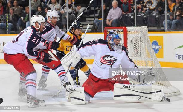 Curtis Sanford of the Columbus Blue Jackets blocks a shot against Jordin Tootoo of the Nashville Predators during an NHL game at the Bridgestone...