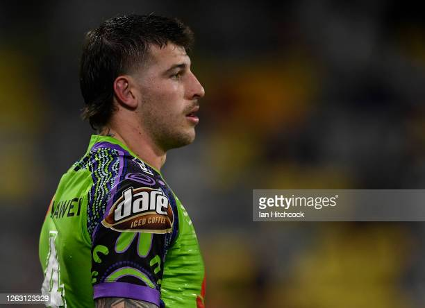 Curtis Scott of the Raiders looks on during the round 12 NRL match between the North Queensland Cowboys and the Canberra Raiders at QCB Stadium on...