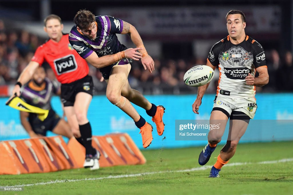 Curtis Scott of the Storm in action during the round five NRL match between the Wests Tigers and the Melbourne Storm at Mt Smart Stadium on April 7, 2018 in Auckland, New Zealand.