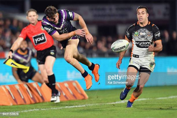 Curtis Scott of the Storm in action during the round five NRL match between the Wests Tigers and the Melbourne Storm at Mt Smart Stadium on April 7...