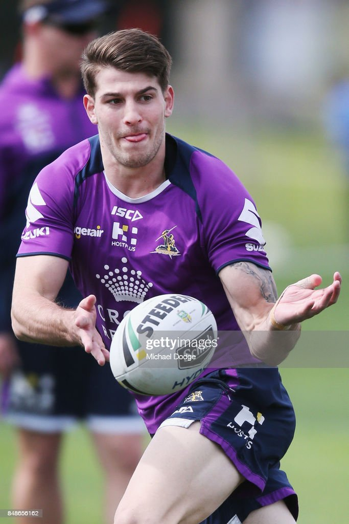 Curtis Scott passes the ball during a Melbourne Storm NRL training session at AAMI Park on September 18, 2017 in Melbourne, Australia.