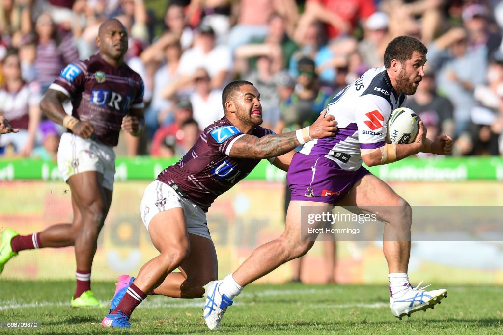 Curtis Sironen of Manly is tackled during the round seven NRL match between the Manly Sea Eagles and the Melbourne Storm at Lottoland on April 15, 2017 in Sydney, Australia.