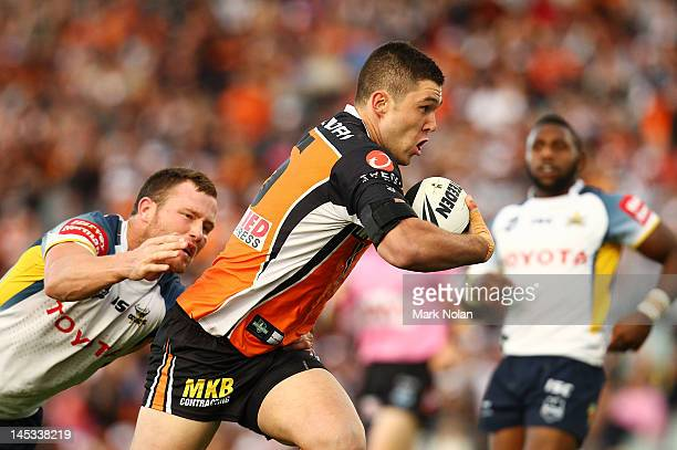 Curtis Sironen of the Tigers makes his debut during the round 12 NRL match between the Wests Tigers and the North Queensland Cowboys at Campbelltown...