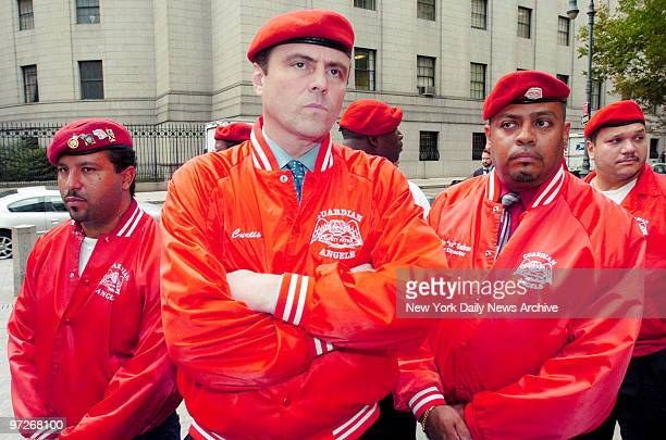 Curtis Sliwa is joined by Guardian Angels outside Manhattan Federal Court after learning that John A Gotti would be released on bail Last week...