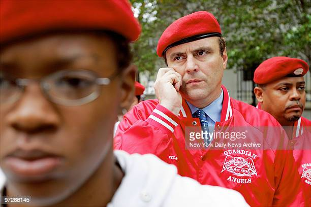 Curtis Sliwa talks on a cell phone as he arrives at Manhattan Federal Court after learning that John A Gotti would be released on bail Last week...