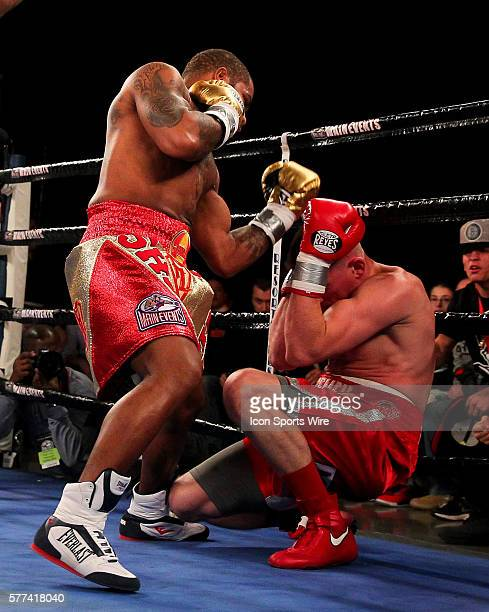 Curtis Stevens in action against Patrick Majewski during their bout at the Resorts Hotel and Casino in Atlantic City New Jersey Stevens knocked out...