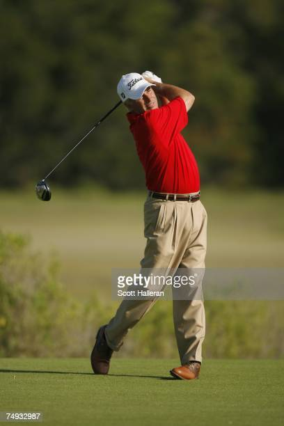 Curtis Strange hits a shot during the second round of Senior PGA Championship on the Ocean Course at the Kiawah Island Resort on May 25 2007 in...