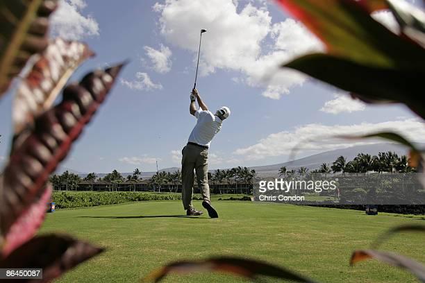 Curtis Strange tees off on during the Thursday ProAm at the 2006 Mastercard Championship at Hualalai resort Kona Hawaii