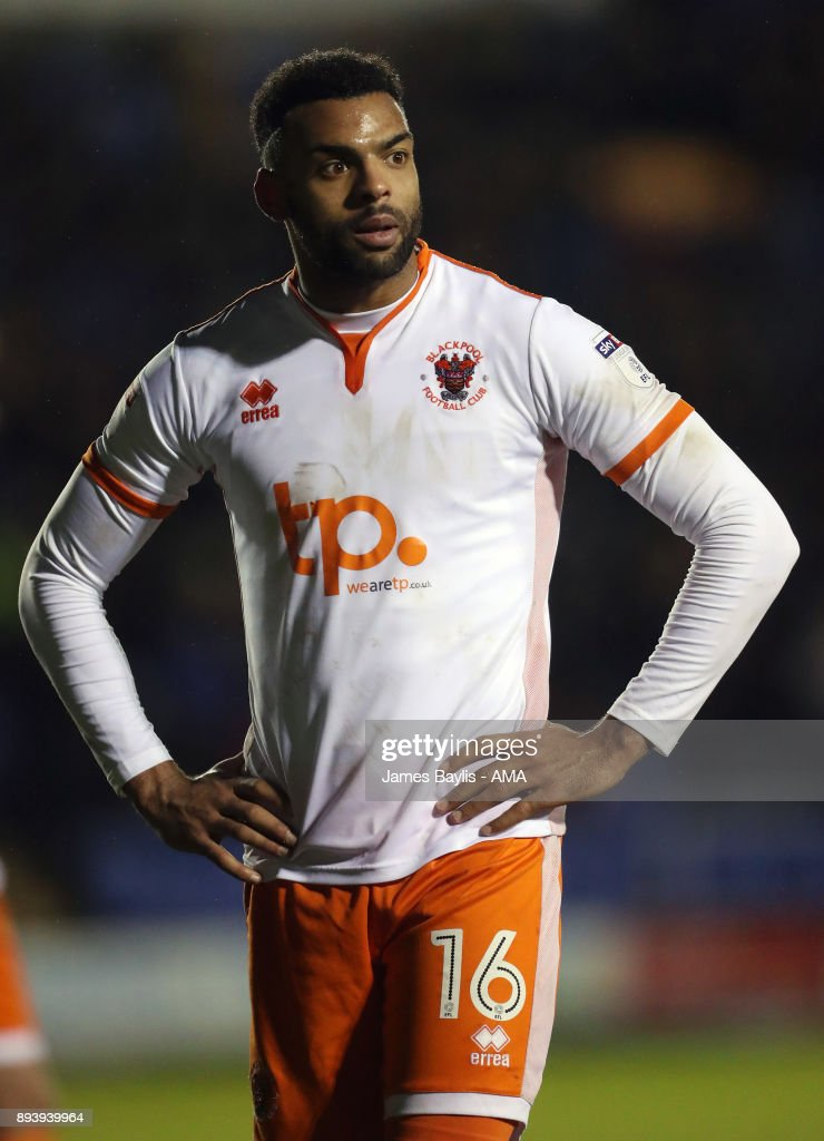 Curtis Tilt of Blackpool during the Sky Bet League One match between Shrewsbury Town and Blackpool at New Meadow on December 16, 2017 in Shrewsbury, England.