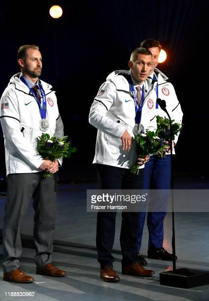 Curtis Tomasevicz Christopher Fogt and Steven Langton speak onstage during the 2019 Team USA Awards at Universal Studios Hollywood on November 19...