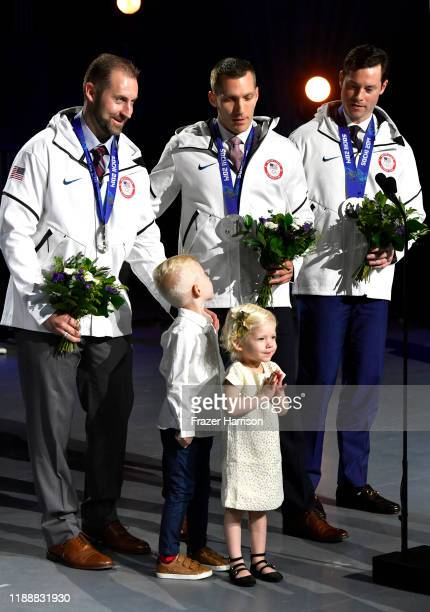 Curtis Tomasevicz Daxton Fogt Brynlee Fogt Christopher Fogt and Steven Langton speak onstage during the 2019 Team USA Awards at Universal Studios...