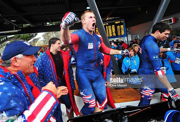Curtis Tomasevicz of USA 1 celebrates after winning the gold medal during the men's four man bobsleigh on day 16 of the 2010 Vancouver Winter...