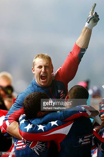 Curtis Tomasevicz of USA 1 celebrates with teammates after winning the gold medal during the men's four man bobsleigh on day 16 of the 2010 Vancouver...