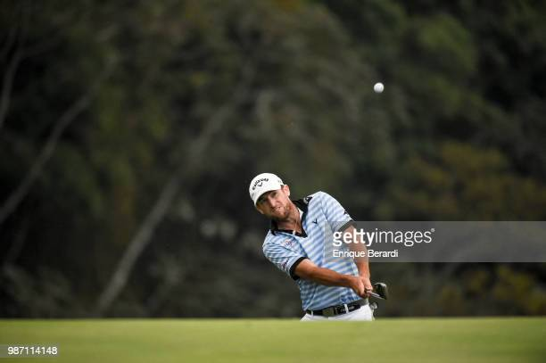 Curtis Yonke of the United States chips up to the second green during the second round of the PGA TOUR Latinoamérica Guatemala Stella Artois Open at...