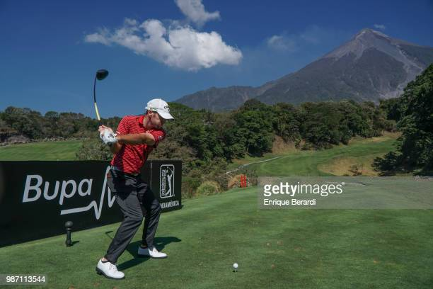 Curtis Yonke of the United States hits a tee shot on the first hole during practice for the PGA TOUR Latinoamérica Guatemala Stella Artois Open at La...