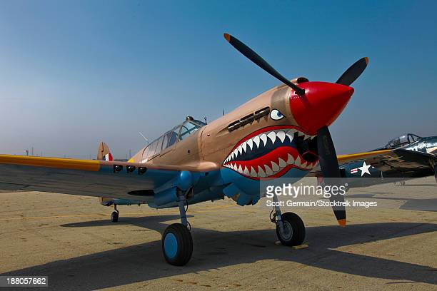 a curtiss p-40e warhawk on display at the warhawk air museum, nampa, idaho. - curtis p40b warhawk stock pictures, royalty-free photos & images