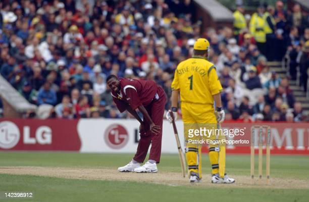 MANCHESTER MAY 30 Curtly Ambrose and Steve Waugh Cricket World Cup 1999 Australia v West Indies at Old Trafford 1995340