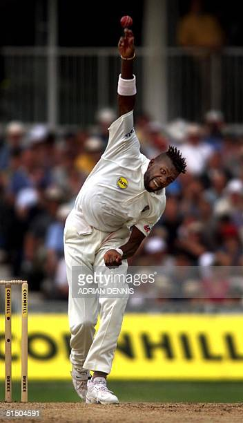 Curtly Ambrose of the West Indies bowls during the first session of the Fifth Test against England at The Oval in London 31 August 2000 The giant...