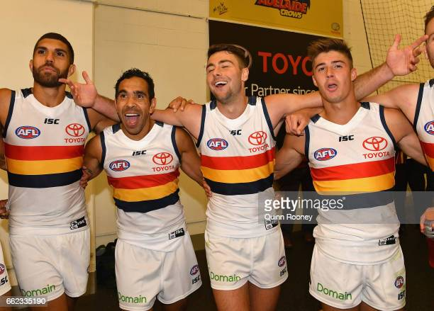 Curtly Hampton Eddie Betts Rory Atkins and Riley Knight of the Crows sing the song after winning the round two AFL match between the Hawthorn Hawks...