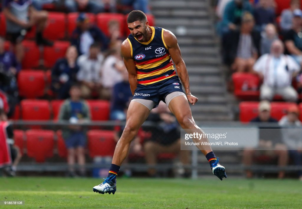 Curtly Hampton of the Crows rues a missed shot on goal during the AFLX match between the Adelaide Crows and the West Coast Eagles at Hindmarsh Stadium on February 15, 2018 in Adelaide, Australia.