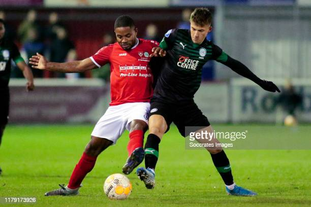 Curty Conzales of Harkemase Boys Ajdin Hrustic of FC Groningen during the Dutch KNVB Beker match between Harkemase Boys v FC Groningen at the...