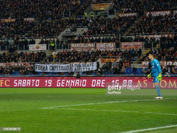 Curva Sud banner 'Forza Capitano' before the Italian Cup football match between AS Roma and Virtus Entella at the Olympic Stadium in Rome on January...