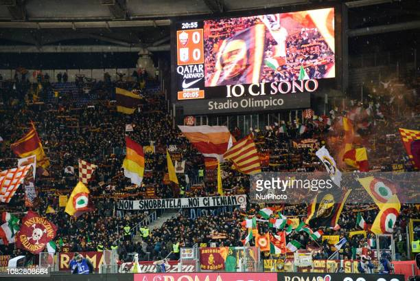 Curva Sud banner 'Non snobbatela noi ci teniamo' before the Italian Cup football match between AS Roma and Virtus Entella at the Olympic Stadium in...