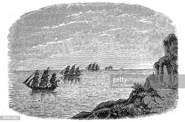 Curvature of the Earth c1880 Because the Earth is curved distant objects such as the furthest ships in this illustration seem to sink below the...