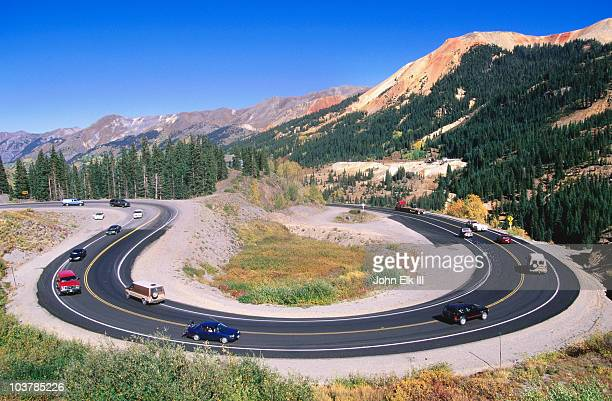 curve along million dollar highway between silverton and ouray. - million dollar highway stock photos and pictures