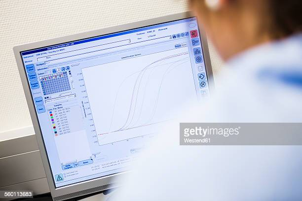 Curve chart on monitor in lab