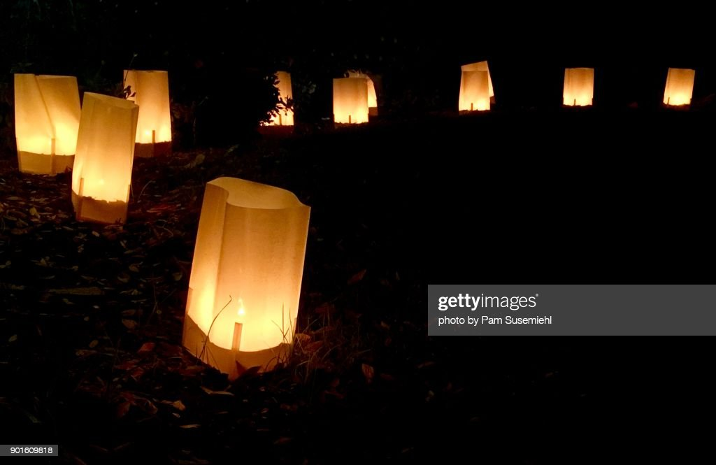 Curve Of Glowing Luminary Bags Night Christmas Decorations Stock Photo