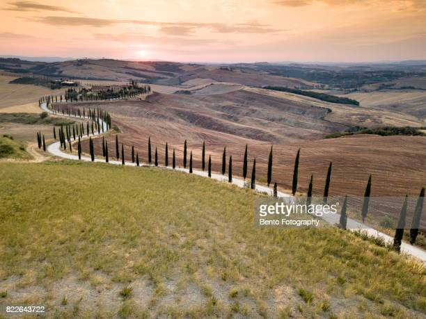 s curve tuscany - siena italy stock photos and pictures