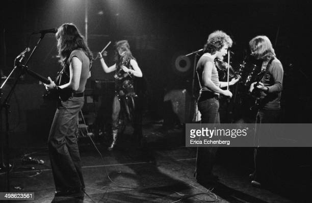Curved Air perform on stage at The Roundhouse, London, May 1976.