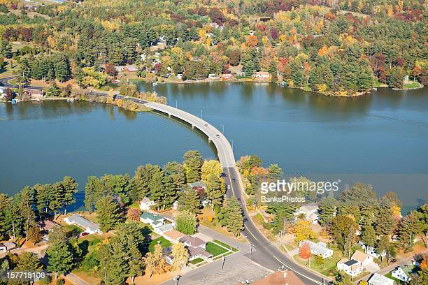Curved Bridge Over Lake Autumn Aerial - Chetek, Wisconsin