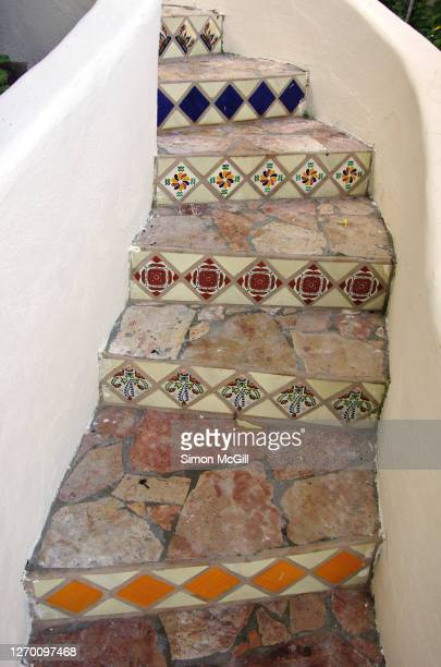 curved concrete steps decorated with stone paving and ceramic tiles - adobe stock pictures, royalty-free photos & images