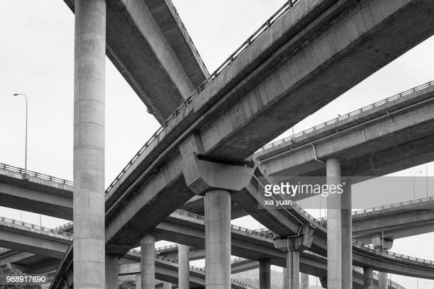 curved flyovers and multilane highways in chongqing,china - flyover stock pictures, royalty-free photos & images