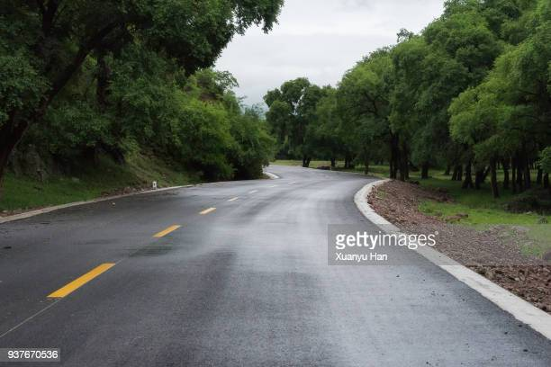 Curved road and natural landscape, Auto advertising background