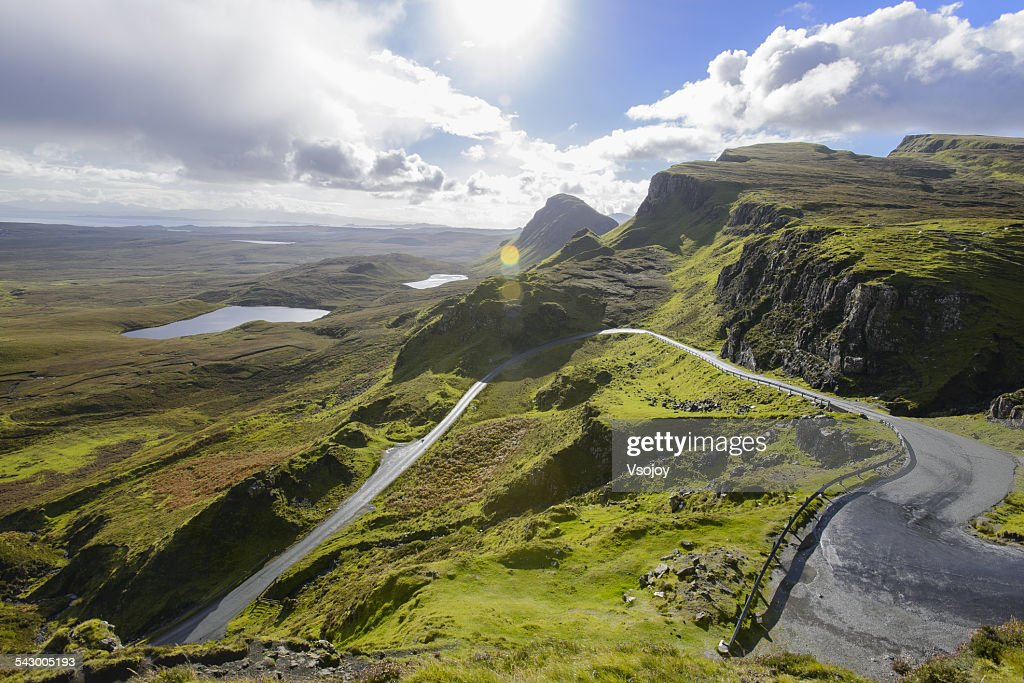 Curved road and natural landscape Quiraing : Stock Photo