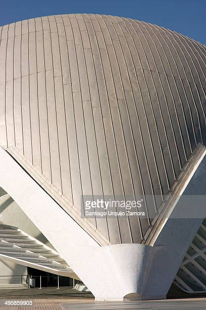 Curved roof of the entertainment-based cultural and architectural complex in the city of Valencia, Valencian Community, Spain