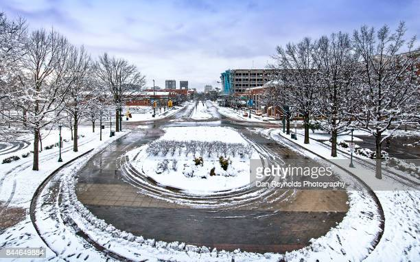 Curved roundabout with snow and ice in City