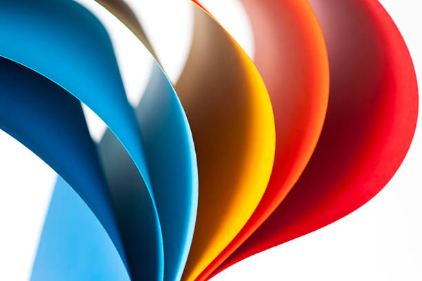 Curves Of Colored Papers On White Background Wall Art
