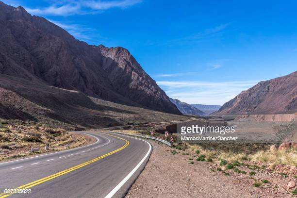 Curves of the beautiful National Route 7 in Mendoza, Argentina