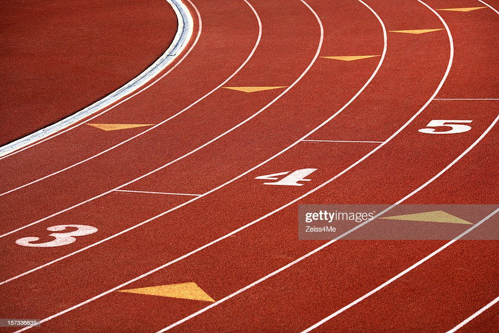 Curving lanes of track : Stock Photo