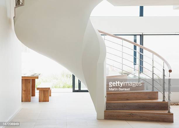 Curving staircase in modern home