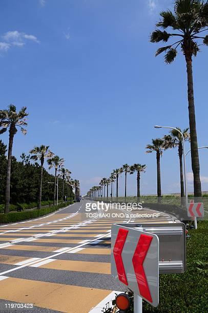 Curvy road in Maihama, Urayasu City, Chiba Prefecture, Honshu, Japan