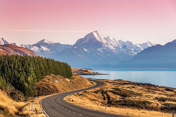 Curvy Road Leading To Mt Cook (Aoraki) At Sunrise Wall Art
