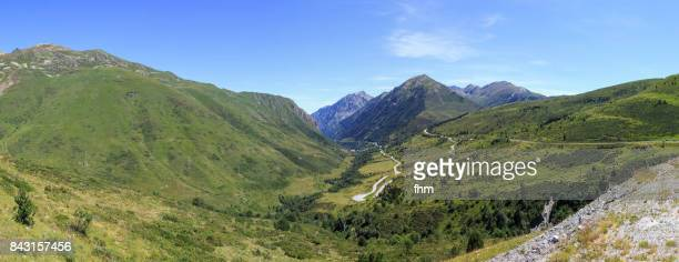 Curvy road through the Pyrenees - landscape panorama in Andorra