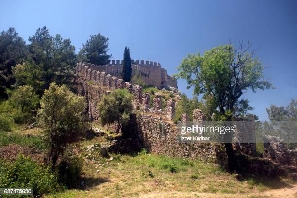 Curvy walls of the Alanya fortress Antalya Turkey