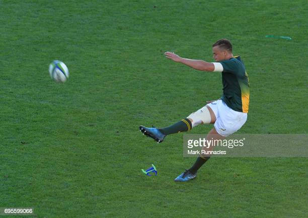 Curwin Bosch of South Africa scores a penalty during the World Rugby U20 Championship Semi Final match between England and South Africa at Mikheil...